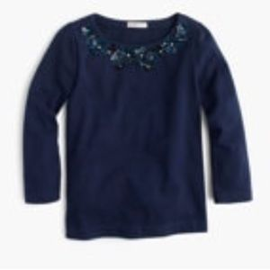 NAVY j. Crew GIRLS' FLOWER NECKLACE T-SHIRT NWT